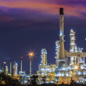 Oil refinery at twilight sky